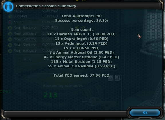 Statistics from Crafting in Entropia Universe